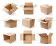 Leinwanddruck Bild - cardboard box package moving transportation delivery