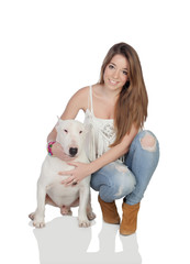 Attractive girl with a bullterrier dog