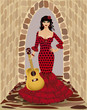Beautiful flamenco girl with guitar, vector