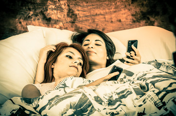 Romantic lesbian couple color toned
