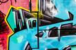 Blue signs, colorful graffiti, abstract grunge grafiti backgroun