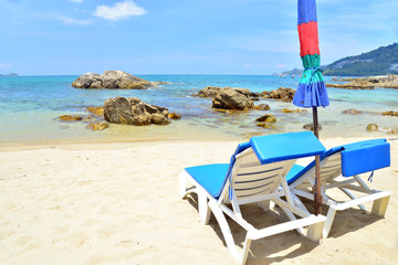 Beach chairs on tropical white sand beach,thailand