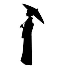 蛇の目傘をさす着物女性のシルエット素材