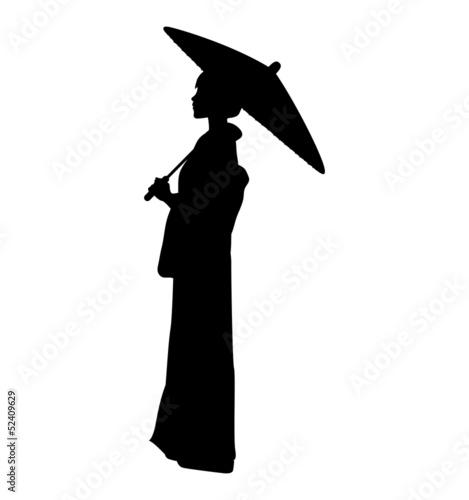 ベクター: 蛇の目傘をさす着物 ...