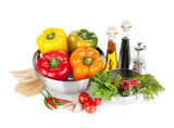 Fresh bell peppers, herbs and condiments
