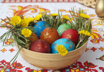 Colored small eggs in a basket by Easter