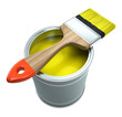 Bank with yellow  paint and brush