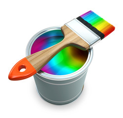 Bank with rainbow  paint and brush