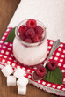 yogurt sundae with raspberries, sugar, cloth