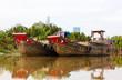 Wooden boat barge, river, Vietnam
