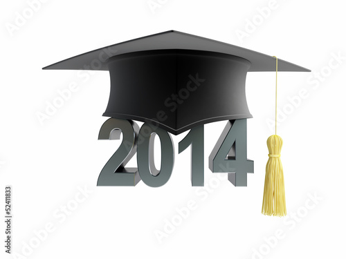 graduation cap 2014 on a white background