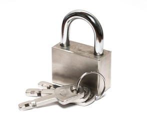 padlock with keys on white close up