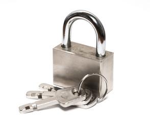 padlock with keys on white close up