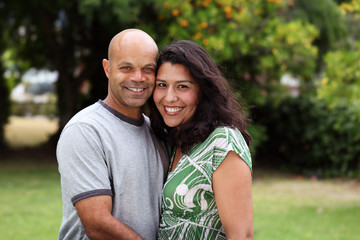 Mixed race couple outside