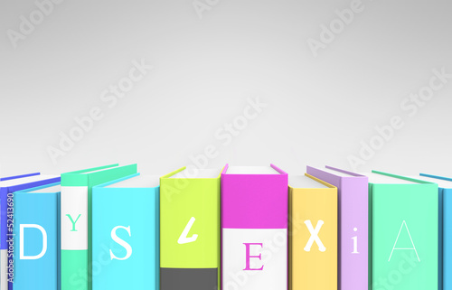 "Colorful books that spells out ""dyslexia"""