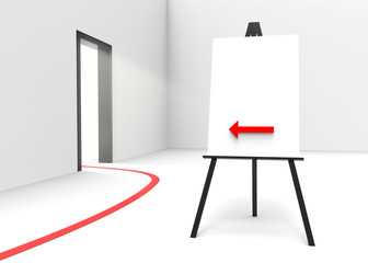One easel with canvas and arrow pointing at a bright doorway.