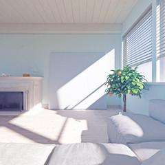 Wohnzimmer, Holzdecke, Bild  und Kamin