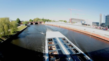 Tourist boats at the river Spree in Berlin, Germany