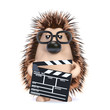 Cute hedgehog working on his new film
