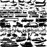 transportation silhouettes collection - vector