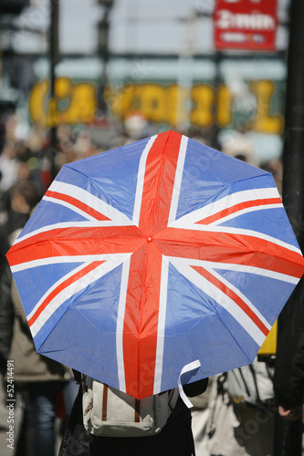 Union Jack Umbrella in a crowd