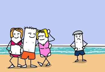 Personnages à la plage - vacances