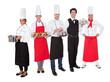 Group of chef and waiters