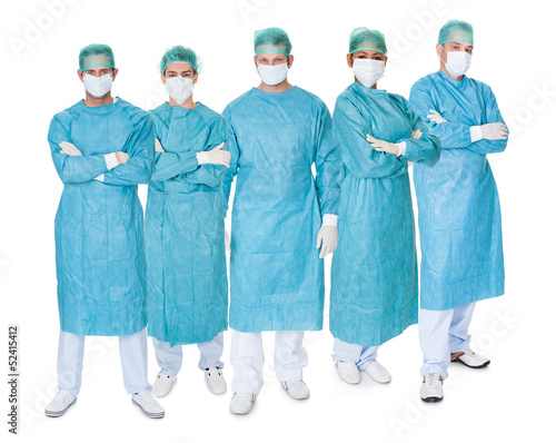 Group of surgeons over white