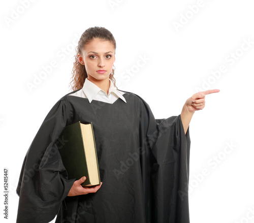 Portrait of a young female judge holding law books