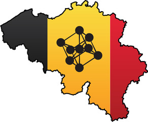 Belgian Flag Country Silhouette and Symbol Combination