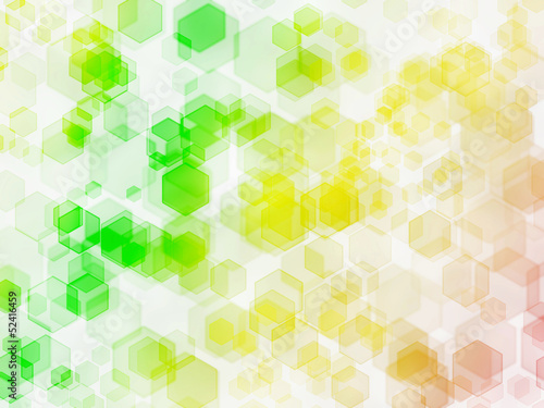 Yellow-green hexagon bokeh background.