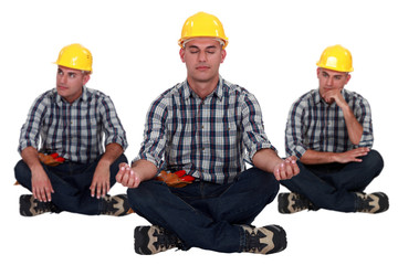 Builder in yoga sitting position