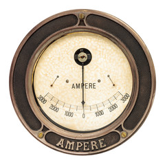 Vintage ampere meter isolated on white