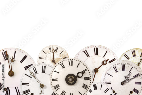 Set of different vintage clocks isolated on white - 52417038