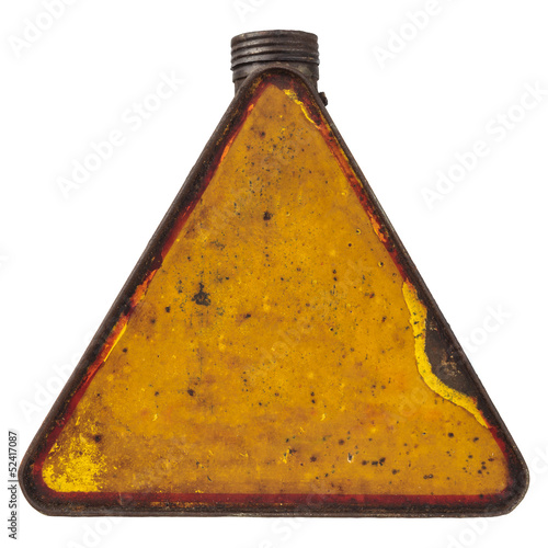 Triangular vintage fuel can isolated on white
