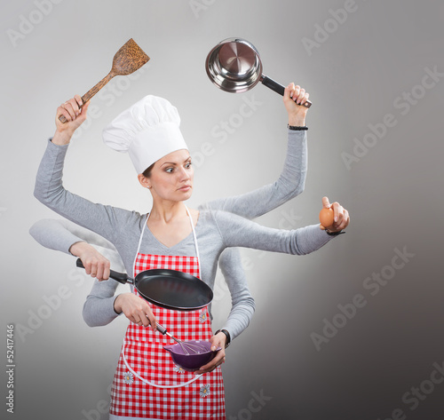 Busy housewife concept with many hands on grey background