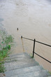 marble staircase that leads down to the River during the flood