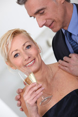 Couple having champagne.