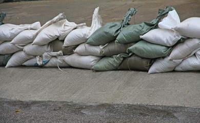 sandbags to protect against flooding of the River during the flo