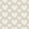 Seamless pattern hand-stitched heart with decorative stitches