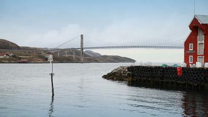 Norwegian landscape with bridge and navigation mark