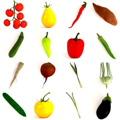 3d render of vegetable collection
