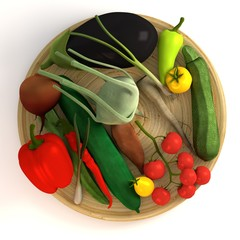 3d render of vegetable collection on plate