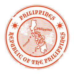 Grunge rubber stamp with the name and map of Philippines, vector