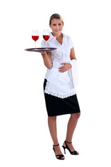 Waitress with tray and glasses