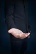 an empty hand of a businessman