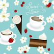 Sweet time / Seamless pattern with coffee and desserts
