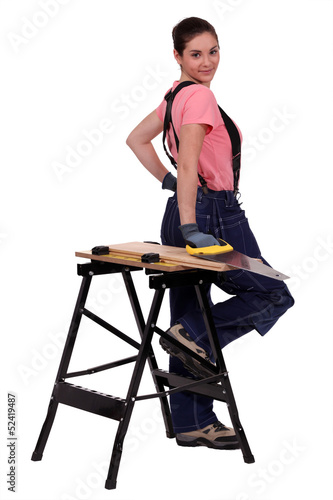 sexy female carpenter