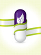Natural pill with green ribbon brochure design