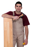 Man with laminate flooring